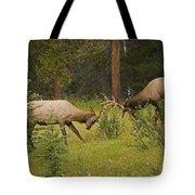 Bull Elk Fighting, Banff National Park Tote Bag by Philippe Widling