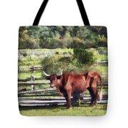 Bull In Pasture Tote Bag by Susan Savad