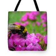 Bumble Bee Searching The Pink Flower Tote Bag