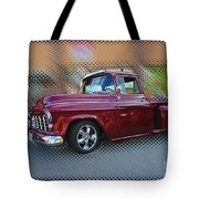 Burgundy Hot Rod Pick Up Abstract Tote Bag