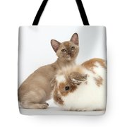 Burmese Kitten And Rabbit Tote Bag