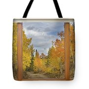 Burning Autumn Aspens Back Country Colorado Window View Tote Bag