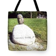 Burrowing Owl Meets Poetry Stones Of Crescent Beach Tote Bag