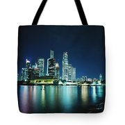 Business District Skyline At Night Tote Bag