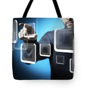 Businessman Touching Screen Button Tote Bag