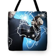 Businessman Touching World Map Screen Tote Bag by Setsiri Silapasuwanchai