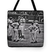 Buster Posey Ryan Theriot Joaquin Arias Hector Sanchez Bruce Bochy Javier Lopez Conor Gillaspie   Tote Bag