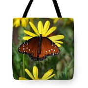 Butterfly And Yellow Flowers Tote Bag