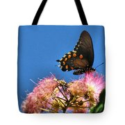 Butterfly On Mimosa Blossom Tote Bag