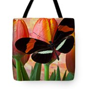 Butterfly On Orange Tulip Tote Bag