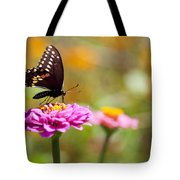 Butterfly On Pink Zinnia Tote Bag