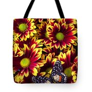 Butterfly On Yellow Red Daises  Tote Bag
