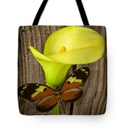 Butterfly With Calla Lily Tote Bag
