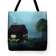 Cabin In The Moonlight Tote Bag