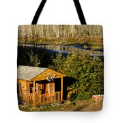 Cabin On The River Tote Bag
