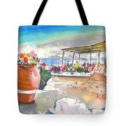 Cafe On Agios Georgios Beach Tote Bag
