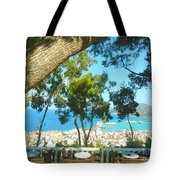 Cafe Terrace At Bohali Overlooking Zante Town Tote Bag