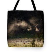 Calf Elk With Steaming Breath At Lost Valley Tote Bag