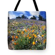 California Poppies And Lupins On A Hill Tote Bag