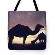 Camels At Dusk Tote Bag