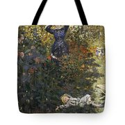 Camille And Jean In The Garden At Argenteuil  Tote Bag