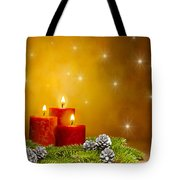 Candles Decorated Branches Of A Pine Tree And Fir Cones Tote Bag