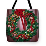 Candy Christmas Wreath Tote Bag