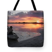 Canoe At Sunset Tote Bag