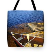 Canoe On Shore Tote Bag by Elena Elisseeva