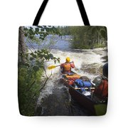 Canoeists Run A Rapid On The Winisk Tote Bag