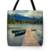 Canoes At Dock On Mountain Lake Tote Bag by Jill Battaglia