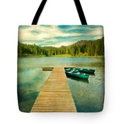 Canoes At The End Of The Dock Tote Bag