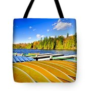 Canoes On Autumn Lake Tote Bag