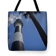 Cape Canaveral Lighthouse With Palm Tree Tote Bag