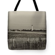 Cape May Light House In Sepia Tote Bag