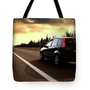 Car On The Road During Sunset Tote Bag