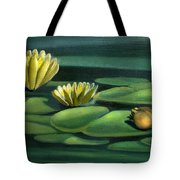 Card Of Frog With Lily Pad Flowers Tote Bag