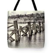 Cardiff Bay Old Jetty Supports Opal Tote Bag