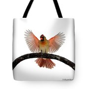 Cardinal Landing On Handle Tote Bag