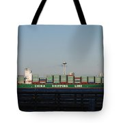 Cargo Ship In Seattle Tote Bag