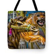 Carousal Camel And Tiger On A Merry-go-round Tote Bag