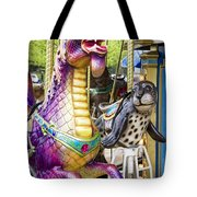 Carousal Dragon And Seal On A Merry-go-round Tote Bag