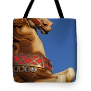 Carousel Horse Against Blue Sky Tote Bag