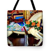 Carousel Horse With Roses Tote Bag