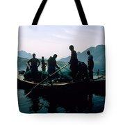 Carp Fishermen In Lake Formed By A Dam Tote Bag
