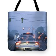 Cars And Traffic Lights In A Rain Storm Tote Bag