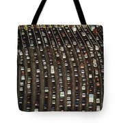 Cars Queue Up At A Tollbooth On The Bay Tote Bag