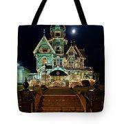 Carson Mansion At Christmas With Moon Tote Bag