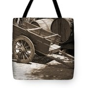 Cart And Wine Barrels In Italy Tote Bag