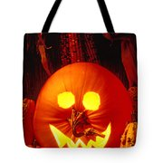 Carved Pumpkin With Fall Leaves Tote Bag
